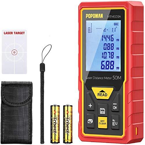 Medidor láser avanzada 50m, POPOMAN Telémetro láser con LCD-pantalla, 30 Datos, Sensor de ángulo electrónico y Función de silencio, m/in/ft/ft+in, Pitagórico, Distancia, Área y Volumen - MTM100A