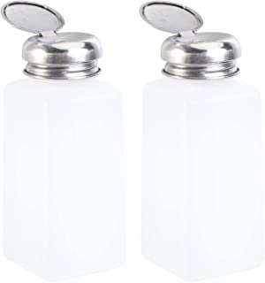 ULTECHNOVO 2 st tryck ner alkoholdispenser tom låsbar antistatisk tryck ner pumpflaskor fyrkantiga plastflaskor