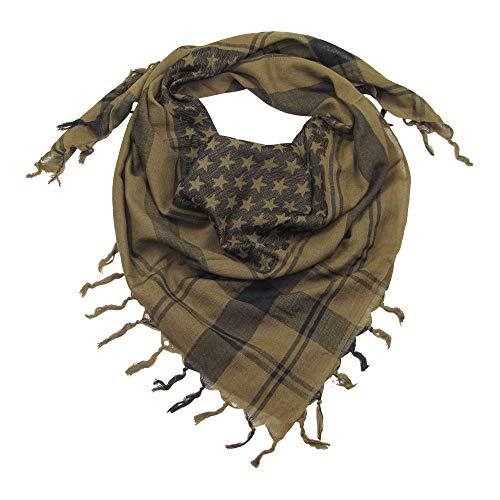 LOVARZI Herren Halstuch Kaki - Sternen Schal für Damen und Herren - Baumwolle Frauentuch Herrentuch