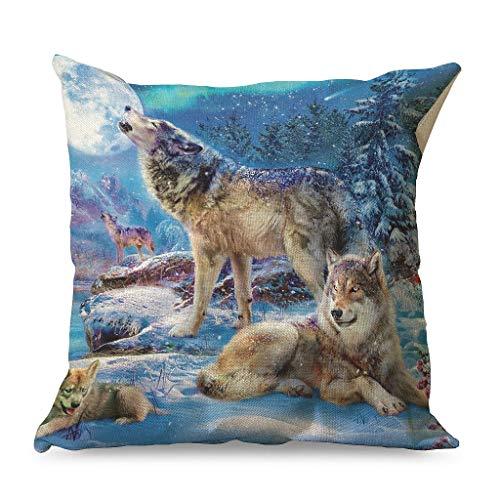 Fundas de cojín decorativas con diseño de familia de lobos, para club blanco, 45 x 45 cm