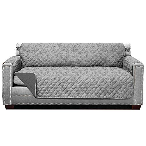 Sofa Shield Original Patent Pending Reversible Large Sofa Protector, Many Colors, Seat Width to 70 Inch, Furniture Slipcover, 2 in Strap, Couch Slip Cover Throw, Pets, Vintage Floral Lt Gray Charcoal