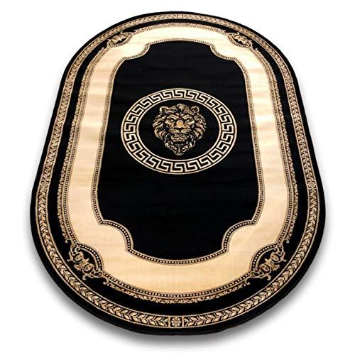 Belle Arti Premium Mäander Löwen Kopf Teppich Oval 152 x 230cm aus 100% Viskose im Meander Medusa Design Carpet versac