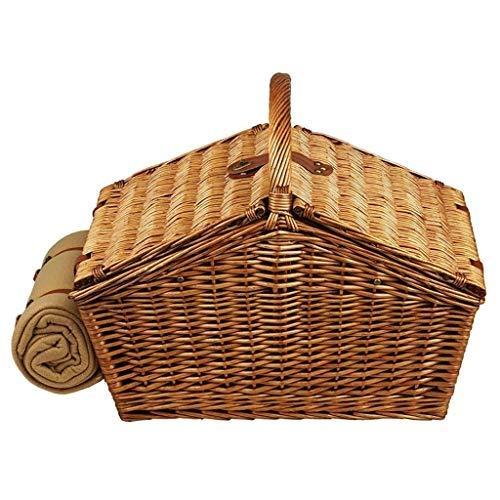 DJSMycl 4 Personen Wicker Picknickkorb Korb braun ohne Geschirr Picknickkorb