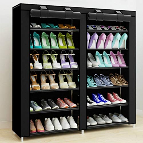 Hmg No Tejido Telas Grande Zapatero Zapatos Organizador de Almacenamiento extraíble Gabinete de Muebles for el hogar, Fila: Dos hileras (Negro) (Color : Black)
