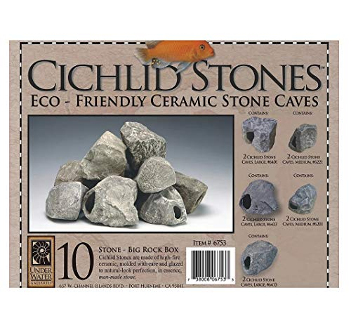 Underwater Galleries Big Rock Box, 10 Large Ceramic Cichlid Stones, Assorted Styles