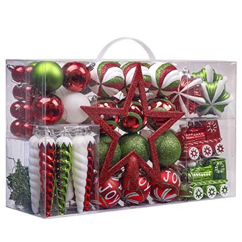 Valery Madelyn 100ct Joyful Red Green White Christmas Ball Ornaments, Shatterproof Xmas Balls for Christmas Tree Decoration