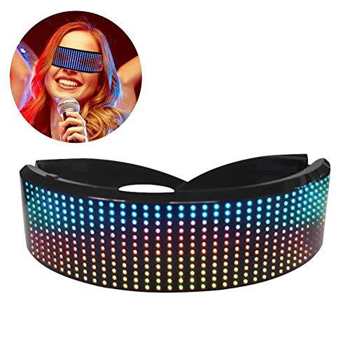 Jannyshop LED Bluetooth Brille Vollfarbiges LED Display Smart Brille mit APP Connected Control für Party Halloween Weihnachten