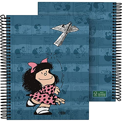 Mafalda 16512637. Cuaderno A5, Espiral, Tapa Dura Cartón Forrado, Cuadricula 5x5, Certificado FSC, Colección Mafalda, Avión