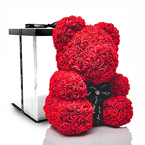 POZY Rosenbär mit Geschenkbox - perfektes Geburtstagsgeschenk für Frauen & Männer zum Jahrestag - exklusiver Teddybär aus roten Rosen zur Hochzeit, Muttertag & Valentinstag -...
