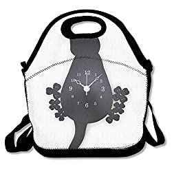 BIAN-61 Black Cat Wall Clock Fashion Insulated Lunch Box Multi-Functional Lunch Tote Bags with Shoulder Strap Reusable Thermal Cooler Bag Lunch Container Bag for Kid Women Men