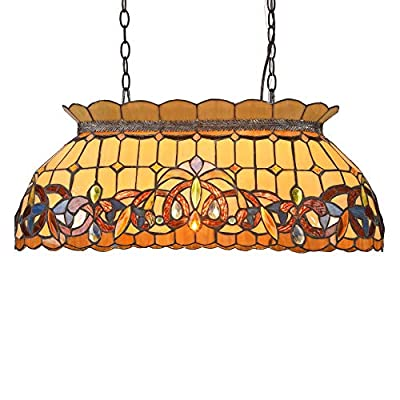Capulina Tiffany Ceiling Pendant Lamp 3 Light Pool Table Lighting 28 inch Tiffany Victorian Style Billiard Light Fixture for Game Room Beer Party Men's Cave Bar Club CL288802CP