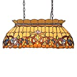 Capulina Tiffany Pool Table Light, 3 Lights for Pool Table, 27.6 inch lampshade Pool Lights, Tiffany Style Kitchen Lights, Victorian Style Pool Lamps, Billiards Lights for Table Game Room, Cave Club