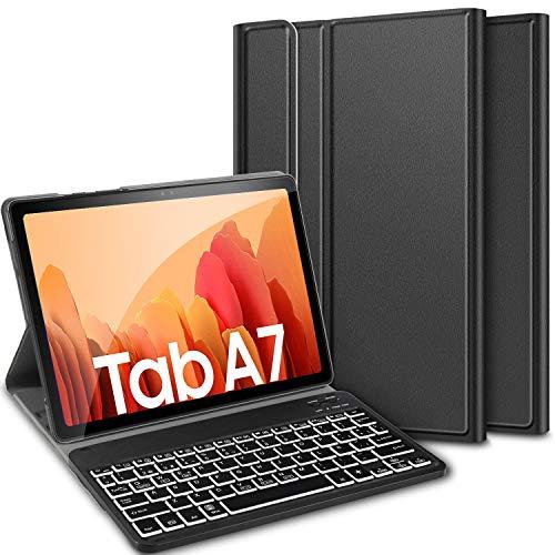 ELTD Teclado Estuche para Samsung Galaxy Tab a7 10.4 2020,[Español, con la tecla (ñ)], Teclado inalámbrico 7 Colores Cubierta de Teclado retroiluminada de Tres particiones, (Negro)