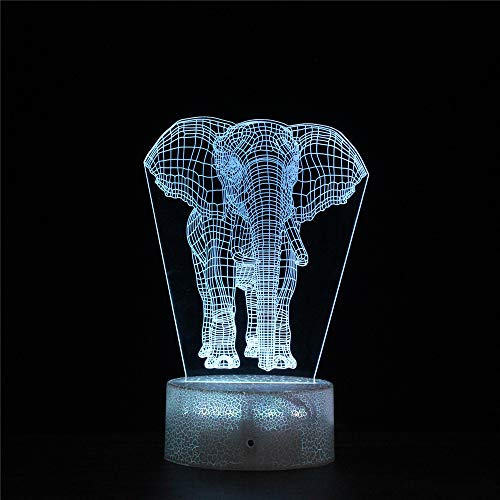 Elephant 3D Illusion Led Lamp 3D Night Light USB Powered 16 Colours Flashing Touch Switch Bedroom Decoration Lighting for Kids Christmas Gift