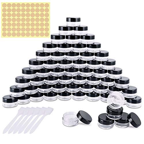 60 Stück Döschen, Cremedose Leer Tiegel Mini Cremedöschen mit Schraubverschluss für Nailart Lippenbalsam Creme, 5g 5ml Schwarz