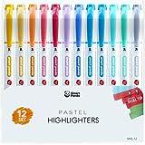 12 Subrayadores Color Pastel de SmartPanda – Rotuladores Fluorescentes de Dos Puntas, Gruesa y Fina – Juego de 12 Colores Variados