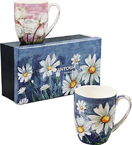 McIntosh Morning Flowers Fine Bone China (12 oz) Set of 2 Mug Set in Matching Gift Box