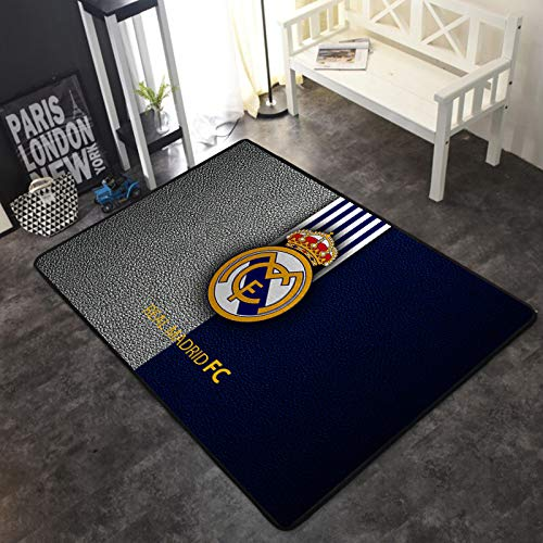 INSTUS Alfombra Fútbol Club Logo Impresión Alfombra Antideslizante Deporte Aficionados Inicio Deco Alfombra Habitación Sala Decoración/Madrid / 80 * 120 cm