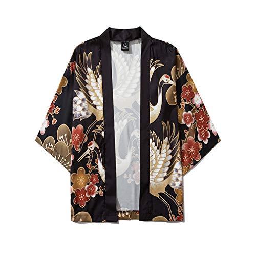 QSQWL Les Hommes Japonais Kimono Cardigan Japon Hommes Kimono Cardigan Casual Ouvert Manteau Avant Peignoir Cardigan Vêtements Pyjama Crème Solaire,6063,XXL