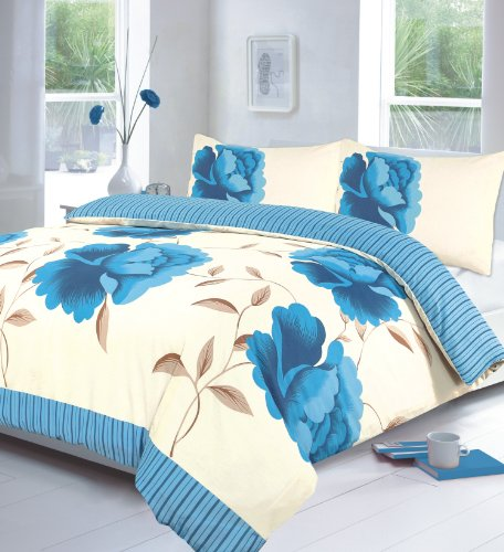 EDS New Rosaleen Duvet cover Bedding set, Quiltset with Pillow cases (Curtain 66x72, Teal)