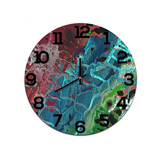 LUOYLYM Abstrakte Ölgemälde Kreative Heimat Wanduhr Acryl Wanddekoration Uhr Stumm Bewegung Spiegel Uhr F514-137 28CM