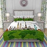 FYCORDB Bettbezug-Bettwäsche,Famous Historical Monuments of The World Theme Holiday Travel Destinations,Mikrofaser-1 Bettdecke-Bettlaken 140×200CM und 2 Kissenbezüge 50×80CM