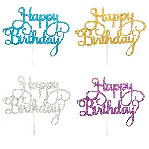 Happy Birthday Cake Topper, Briller Gâteau Décorations d'anniversaire pour Enfants Filles Garçons Femmes Homme, Joyeux Anniversaire Cupcake Toppers pour Décorer Gâteau d'anniversaire Fête, 4 Couleurs