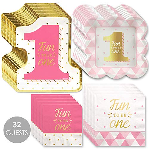 Amazing Deal Big Dot of Happiness Fun to be One – 1st Birthday Girl with Gold Foil – Party Tableware Plates, Napkins – Bundle for 32