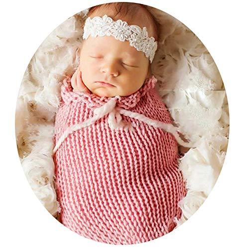 QuRong baby-fotokostuum pasgeboren baby kleding breien fotografie rekwisieten foto rekwisieten kap slaapzak baby (roze) pasgeborenen fotografie kleding