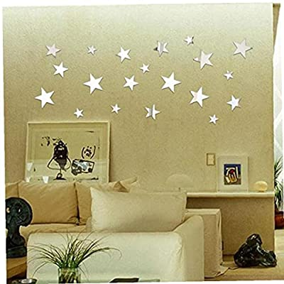 Star Mirror Wall Sticker Acrylic Art Wall Stickers for Living Room Bedroom Stickers 20pcs