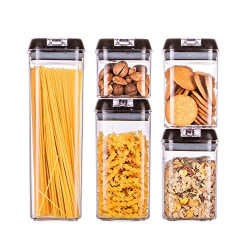 HOMELODY Vorratsdosen Frischhaltedosen 5 teilige Set, Aufbewahrungsbox für Küche mit luftdichtem Deckel,BPA frei Lebensmitteldosen,Vorratsgläser zur Aufbewahrung von Nudeln, Müsli,Mehl, Wasserdicht