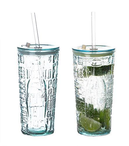 2X Coca-Cola Gläser 0,5 l mit Strohhalm - Schriftzug - 100% Recycled - Trinkglas mit Deckel - to Go Becher - Made in Spain