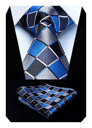 HISDERN Panuelo de corbata y panuelo de corbata a cuadros Wedding Tie para hombre Azul/Gris/Negro