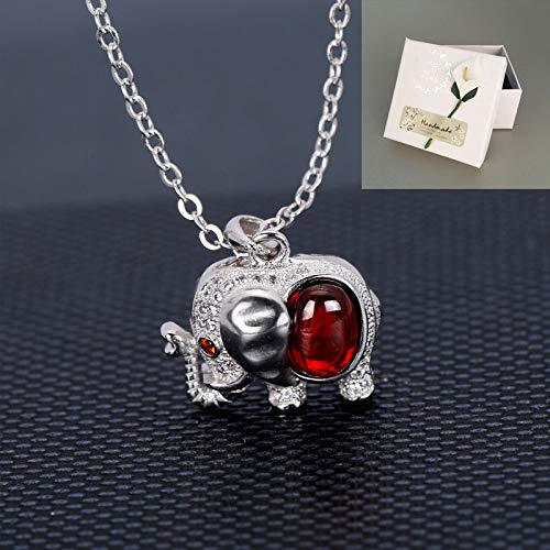 Sterling Silver Necklace,925 Sterling Silver Garnet Baby Elephant Creative Zircon Love Heart Necklace Gift Box, Used As Mother'S Day, Party, Birthday, 925 Sterling Silver+Gift Box