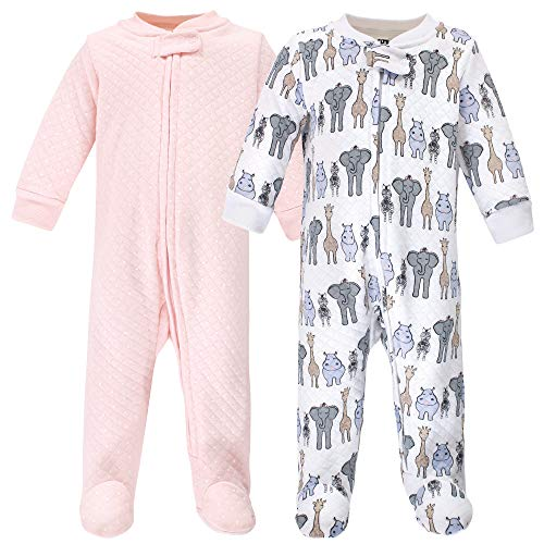 Hudson Baby Unisex Baby Premium Quilted Zipper Sleep and Play, Pink Safari, 3-6 Months