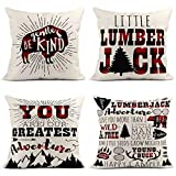 Taysta Set of 4 Linen Throw Pillow Cover Case Merry Christmas Be Gentle Buffalo Little Lumberjack Greatest Adventure Art Decorative Pillow Cases Covers Home Decor Square 18 x 18 Inches Pillowcases