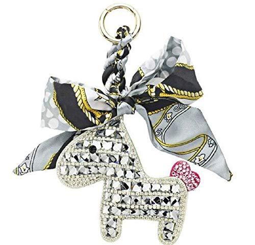 Somèh Pferde-Schlüsselanhänger mit Schleife und Glitzersteinen (Silber)