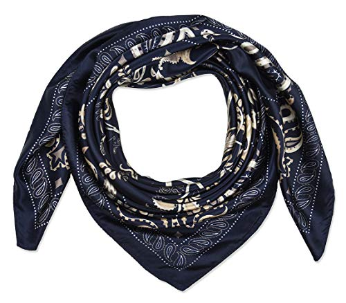 corciova 35' Women's Polyester Silk Feeling Square Hair Scarf Headscarf Prussian Blue Tree...