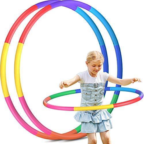 Juego de 2 aros de hula hoop para niños, 8 secciones, desmontables, para fitness, para el hogar, al aire libre, escuela, fiesta, baile, quemar grasa, danza, yoga
