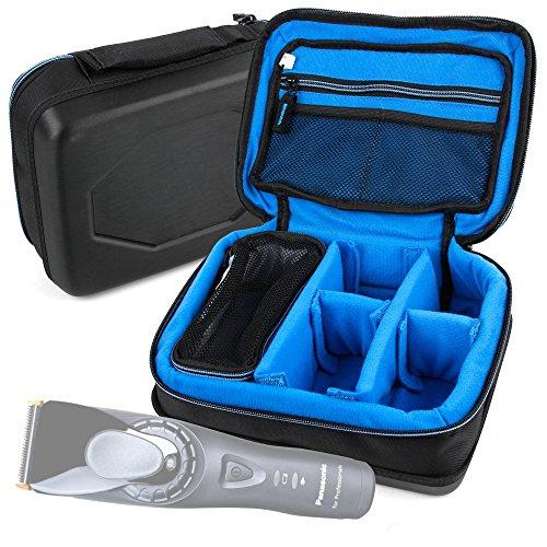 DURAGADGET Bolsa Acolchada Profesional Negra con Compartimentos para maquinilla de Afeitar/Corta Pelo Panasonic ES SA40, ES-RL21, ES-SL41, ES-ST25, ER-GS60, ES-RW30