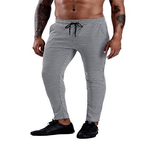 Pantalones Casuales a Cuadros para Hombre Pantalones clásicos hasta el Tobillo con Rayas Laterales Ajustados y Ajustados elásticos cómodos a la Moda X-Large
