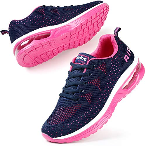 STQ Womens Trainers Running Shoes Ladies Trainers Tennis Air Cushion Mesh Breathable Comfortable Sports Lightweight Fitness Gym Athletic Navy Rose UK 6