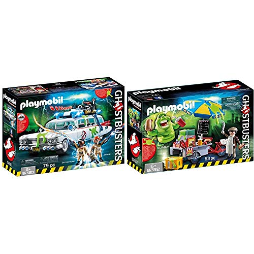 Playmobil Plastic Ghostbusters Ecto1 with Light and Sound Effect 9220 & Plastic Slimer with Hot Dog Stand 9222 Age 6-12