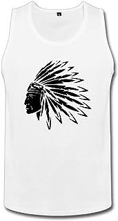 Cute Soul メンズ タンクトップ インディアン 刺青 民族風 ネイティブアメリカン 酋長 ☆二重縫い加工 カットソー アメカジの王道 ?