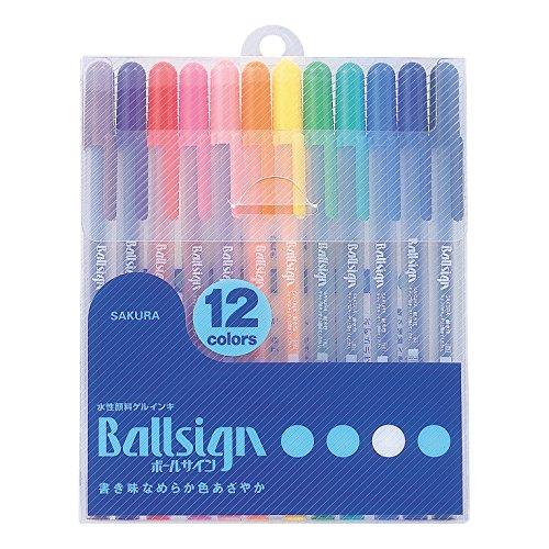 サクラクレパス 水性ボールペン ボールサイン 12色 PGB12