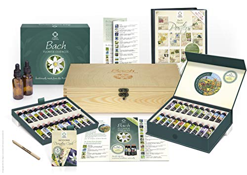 Bach Flower Remedy Complete Kit In Wooden Case. 40 Quality Essences, Pack 38 Divination Cards &Amp; 38 Posters, 2 Dosage Bottles. Premium Gift Set Box.