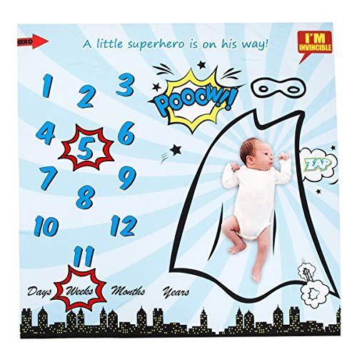 Puseky Manta de Hito Mensual Superhero Print Baby + 2 * Marco | Bebé niño niña fotografía telón de fondo foto prop (Color : White+Blue, Size : 40 * 40 inch)