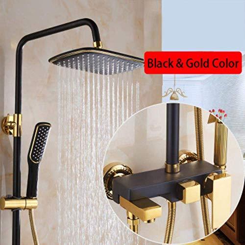 Badezimmer Luxus schwarz Golden Duschset mit Bidetdusche Gold Duschset Bad Duscharmatur Badewanne Wasserhahn Sets, 10