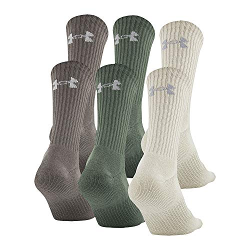 Under Armour Adult Charged Cotton 2.0 Crew Socks, 6-Pairs, Neutral Assorted, Shoe Size: Mens 8-12, Womens 9-12
