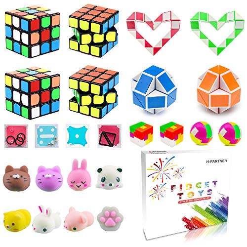 Party Favor Pinata Filler,Treasure Chest,Mini Magic Cube,Brain Teaser Puzzle Boxes,Mochi Squishies,Snake Twist Puzzle,Treasure Box Prizes for Carnival Prizes,Goodie Bag Fillers,Classroom Rewards
